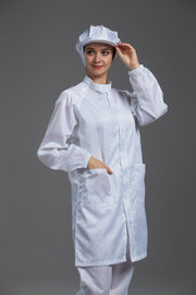 China Resuable Anti Static ESD cleanroom labcoat  white color with conductive fiber suitable for hospital factory