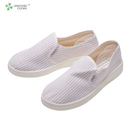 China Electronic Factory ESD Cleanroom Shoes , Stripe Canvas Esd Rated Shoes factory