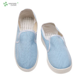China Stripe Canvas PVC Sole Esd Soft Toe Shoes For Pharmaceutical Factory factory