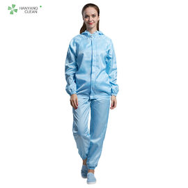 China Clean Room ESD Workwear Anti Static Garments Washable Autoclavable Blue Color Zipper Open factory