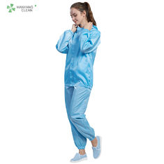 China Blue Color Cleanroom Anti Static Jacket And Pants With Hood ESD Class 100 factory