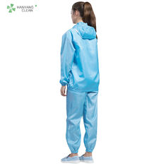 Anti Static Autocalvable Clean Room Garments Hooded Jacket And Pants For Pharmaceutical Workshop