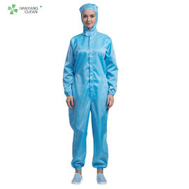 China Class 1000 Cleanroom Anti Static Garments 98% Polyster 2% Carbon Fiber Hooded Coverall factory
