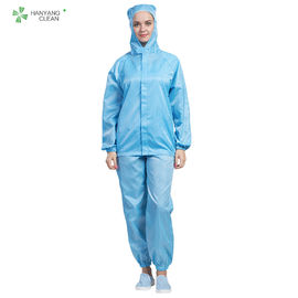 China Blue Color Anti Static Garments Hooded Jacket And Pants Autoclavable With Conductive Fiber factory