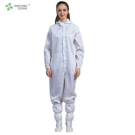 China ESD cleanroom anti-static hooded coverall white color with conductive fiber for parmaceutical industry factory