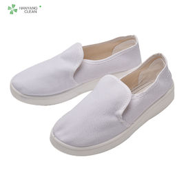 Cleanroom anti-static canvas esd shoes with PU sole lint-free white color for electronic company