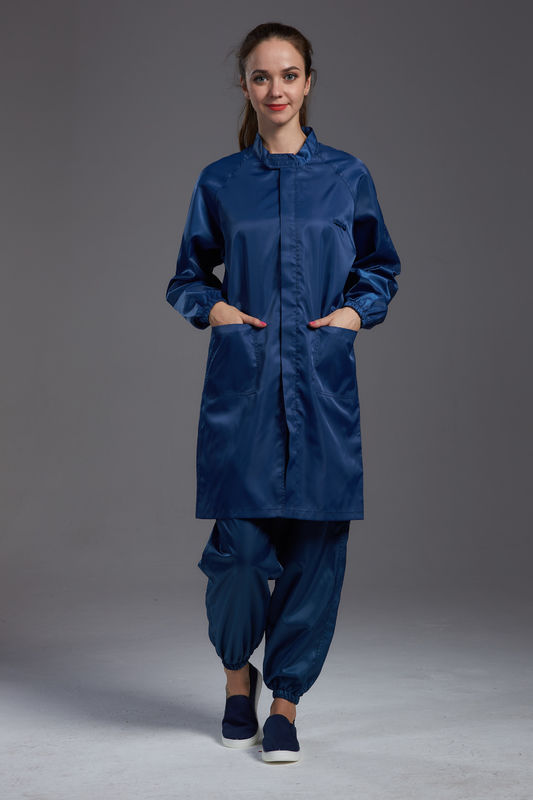 Anti Static ESD Garment Resuable labcoat Class1000 straight open zipper stand collar durable small  in SMT Workshop