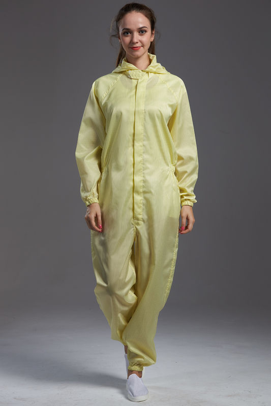 Anti static ESD cleanroom coverall yellow color conductive fiber with zipper open for class 1000 or higer