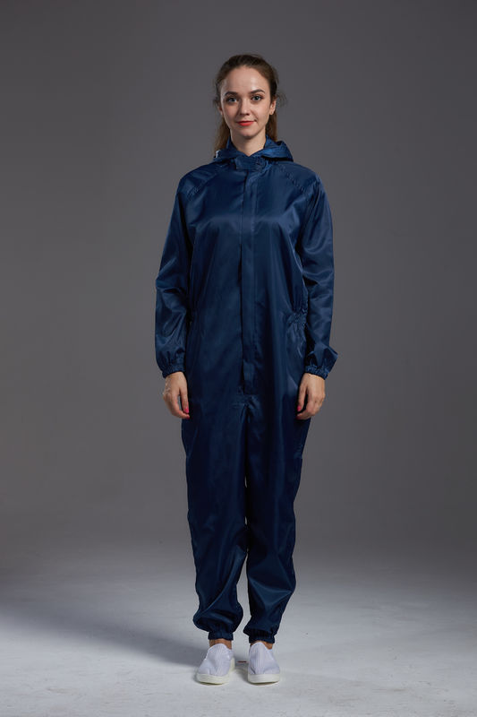 Antistatic ESD cleanroom coverall dark blue color with hoods zipper open conductive fiber