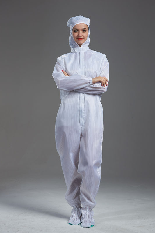 Anti Static autoclavable ESD cleanroom garment hooded coverall white color with shoes cover for class 100