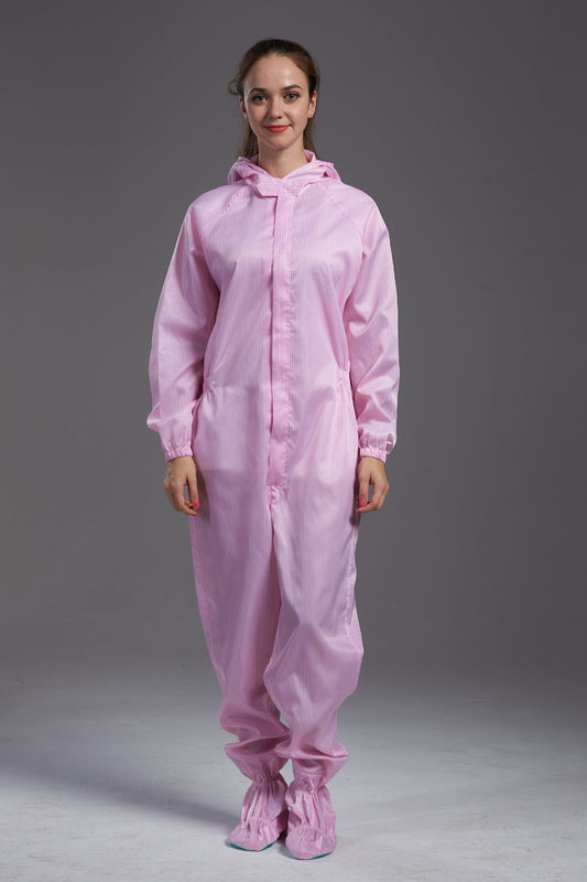 Anti static ESD sterilized dust-proof pink hooded coverall with conductive fiber for class 100 cleanroom