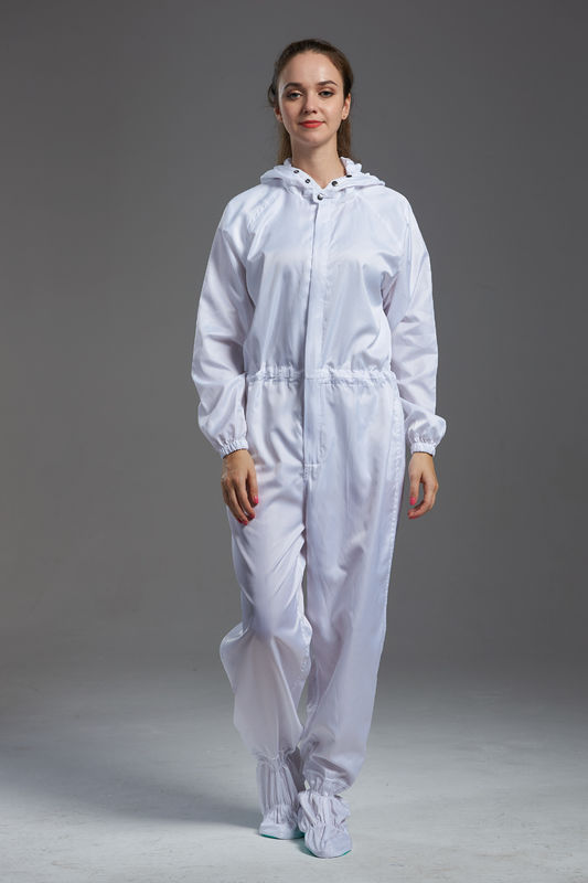 Anti Static ESD dust-free autoclavable sterilized white color coverall with hood for class 100 cleanroom
