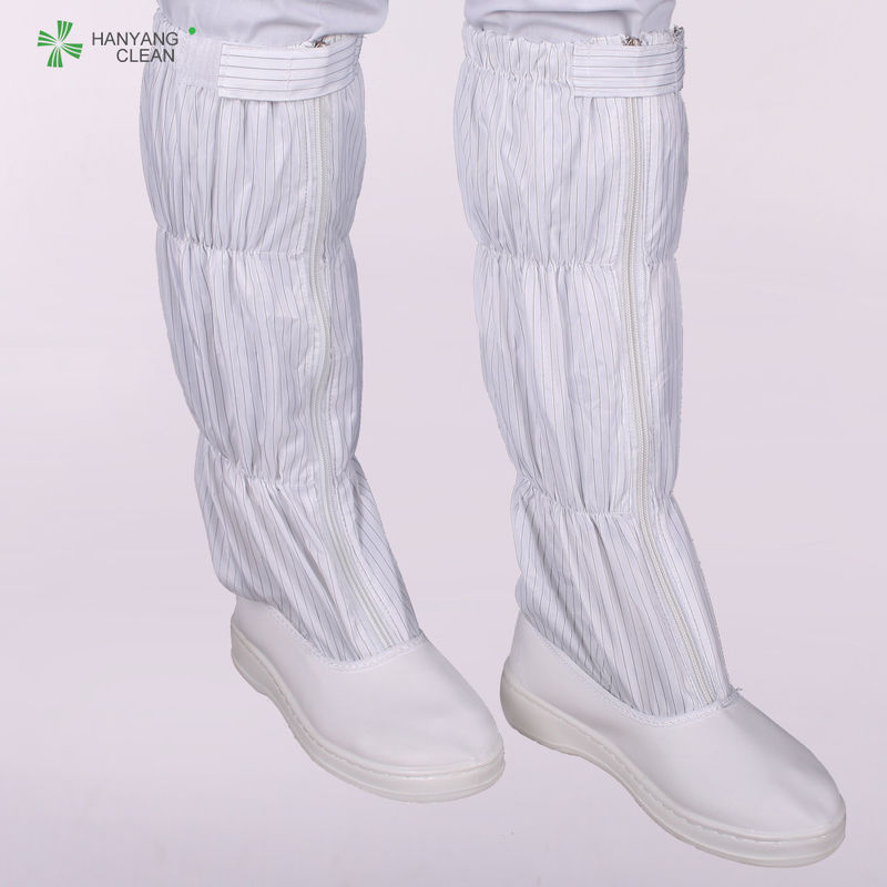 Unisex White Cleanroom Anti Static Boots With Drawstring  Boot Leg