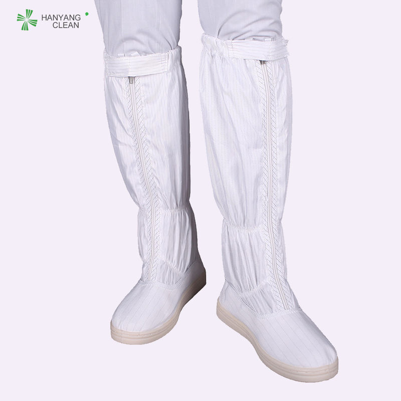 White Anti Static Shoes , Zipper Esd Safety Boots High Temperature Sterilization supplier