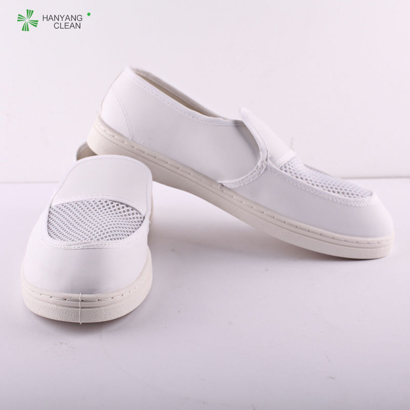 Wholesale antistatic pu sole leather two mesh hole shoes dust-free cleanroom shoes
