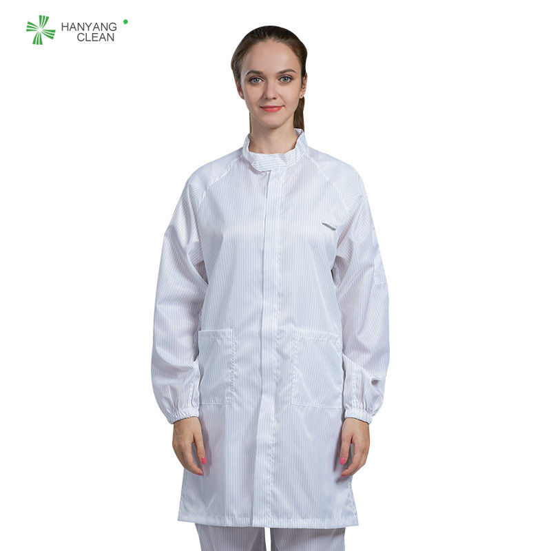 Anti Static ESD Garment Resuable Class1000 straight open zipper stand collar durable small  in SMT Workshop supplier