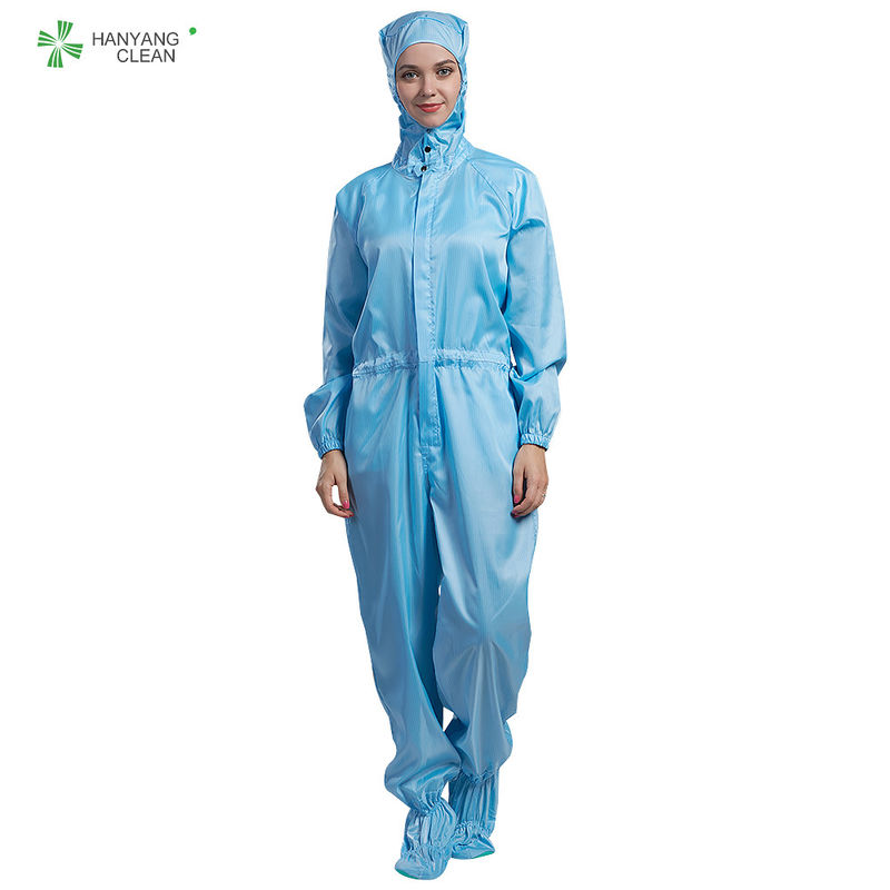 White color anti static autoclvable cleanroom coverall  with hood and shoes cover for parmaceutical industry supplier