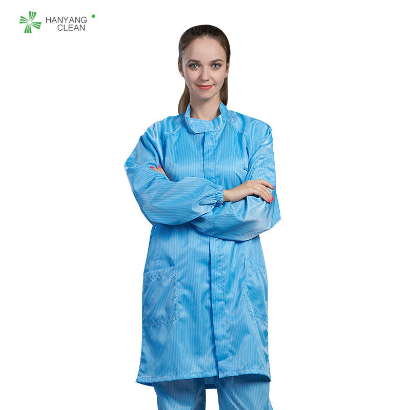 Dust-free antistatic ESD blue labcoat gown suitable for cleanroom or workshop of Parmaceutical indstry