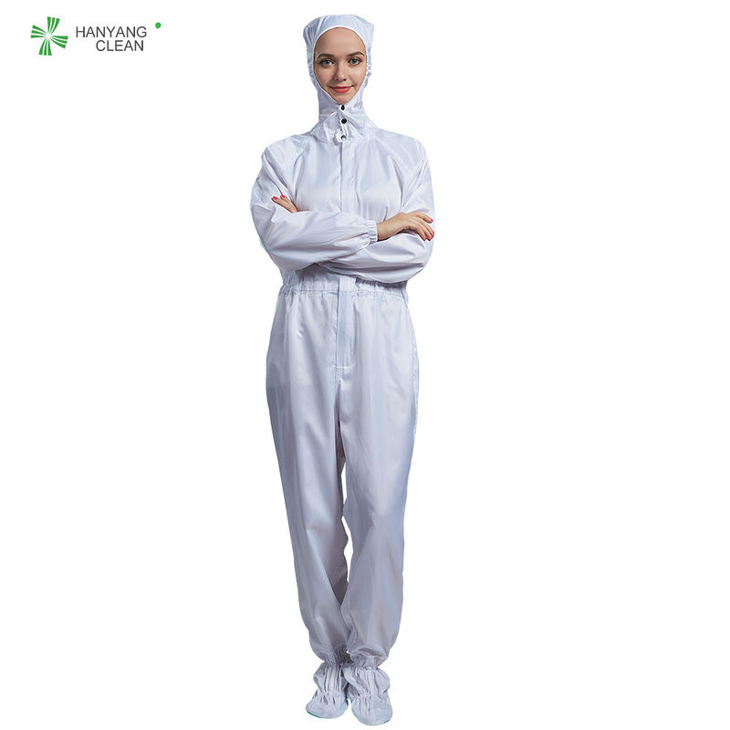 ESD antistatic sterilized lint-free hooded coverall white color with conductive fiber for class 1000 cleanroom